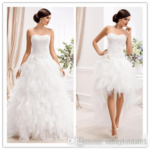 . Elegante vestidos de noiva vestidos de casamento com destacável saia 2 em 1 tule plus size camada de trem jardim vestidos de casamento nupcial