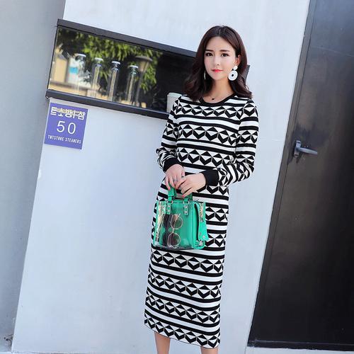 f3ecdfd392907 Geometric Pattern Woolen Maternity Nursing Dress Autumn Winter ...
