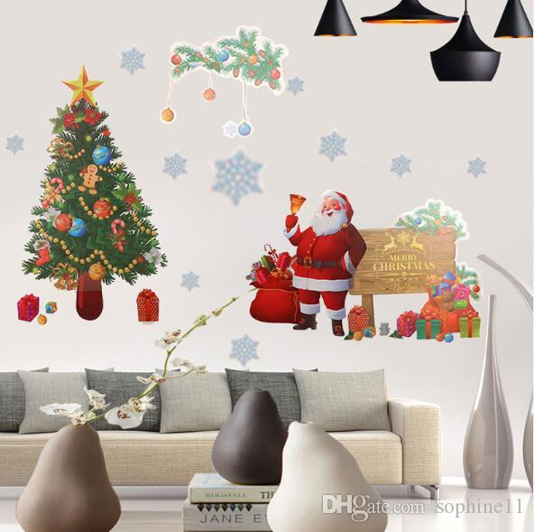 Christmas Wall Sticker DIY Santa Claus Elk Gifts Tree Window Wall Stickers Removable Vinyl Wall Decals Xmas Decor