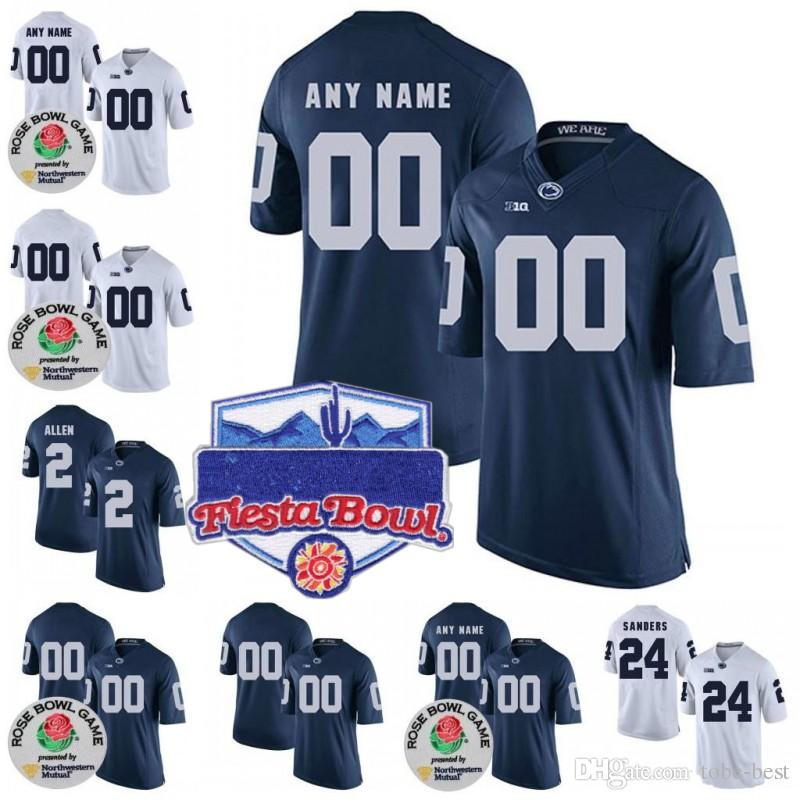 2019 Custom NCAA Penn State Nittany Lions College Football Limited  Personalized Any Name Number  9 38 11 PSU Jerseys White Blue 2018 Rose Bowl  From Tobe ... 6df610577
