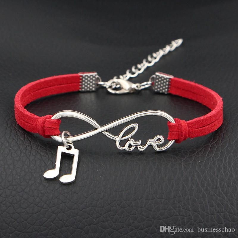 2018 New Vintage Red Leather Rope Infinity Love Music Sign