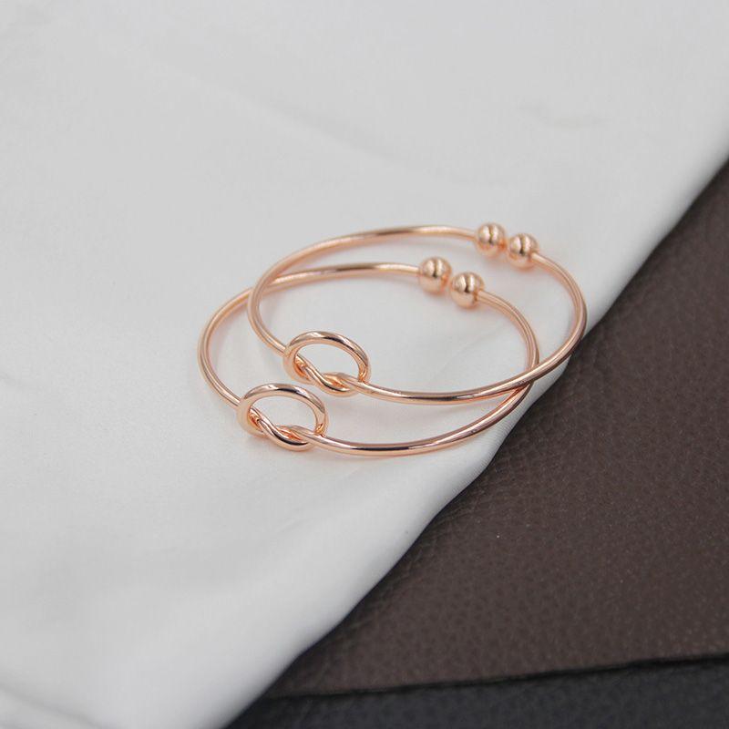 De haute qualité De Cuivre Extensible Ouvert Fil Bracelets femmes noeud d'amour Cuff Bracelets Pour Dames Filles Mode Simple Bijoux