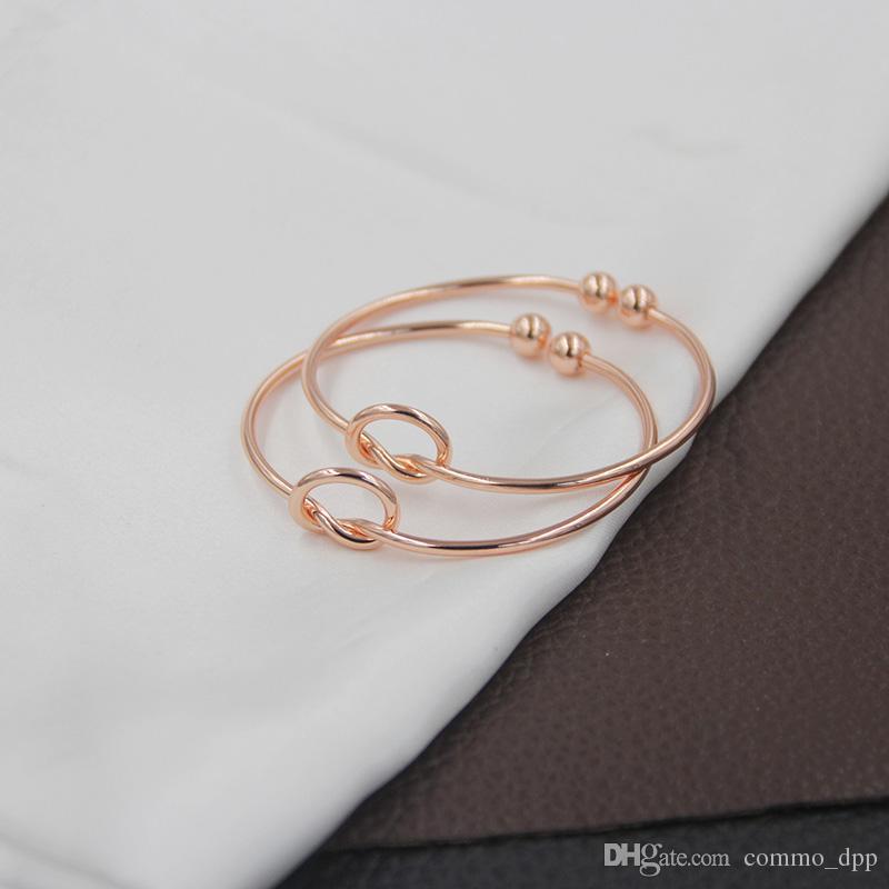 Hohe qualität Kupfer Erweiterbar Offenen Draht Armreifen frauen liebe knoten Manschette Armbänder Für Damen Mädchen Mode Einfache Schmuck