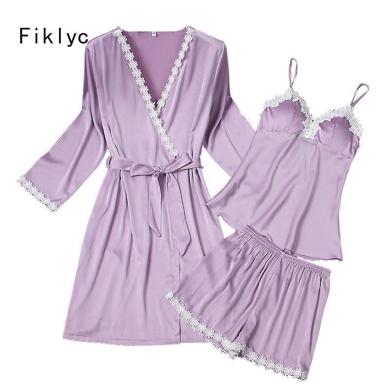a2e1ba2bcb Fiklyc Brand Three Pieces Women s Bathrobe + Pajamas Sets for Female Lace  Flower Satin Silk Long Sleeve Summer Girls Nightwear Pajama Sets Three  Piece Three ...