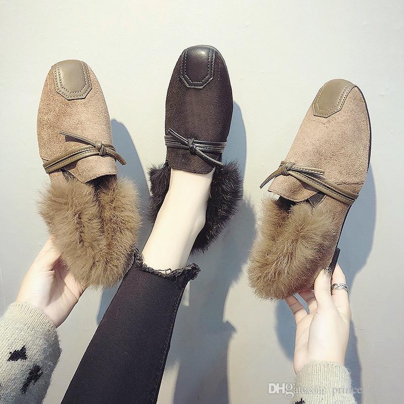 2018 piel con mujer invierno Inicio para zapatillas de Comprar GqVpUzSM