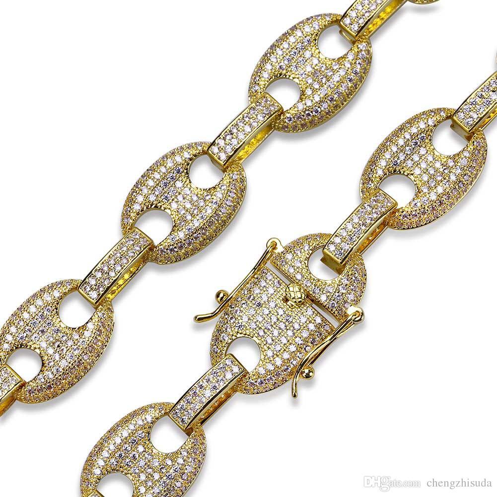 Bracelet en perle de zircon glacé Bracelet en cuivre Matériel Or Argent Couleur Bling Bling CZ Hommes Bracelet Hip hop
