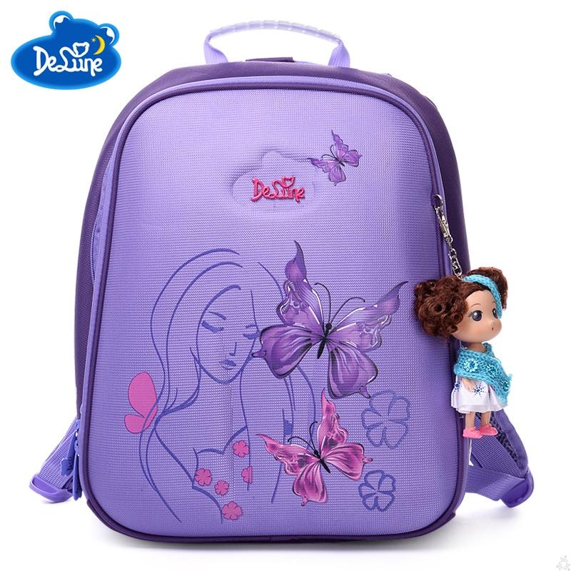 Delune Sweet Princess Cartoon School Bag Butterfly Girls School Backpacks  Soft Light Orthopedic Purple Backpack For Children Laptop Backpack Beach  Bags From ... 3628894e60497