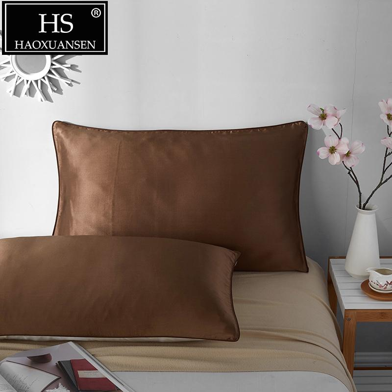 HS Soft Smooth 1 pair 19 Momme Terse Silk Pillowcase Mulberry Silk Pillow Case Solid Color Pillowcase 48*74cm for home Hotel