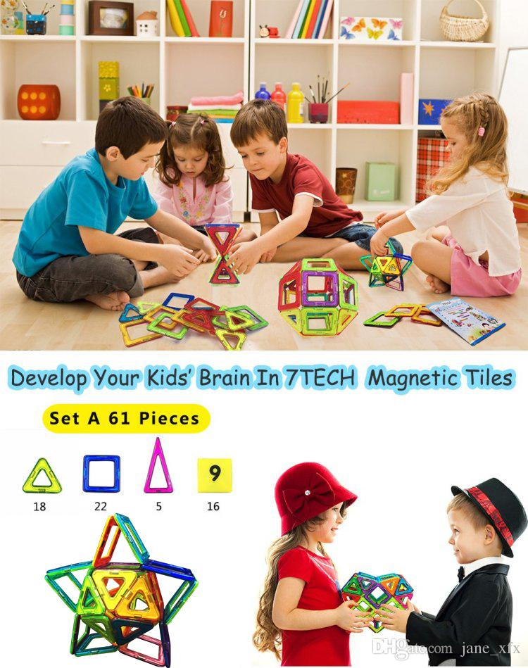 Clear Colors Building Blocks Magnetic Tiles Toy Kids And ...