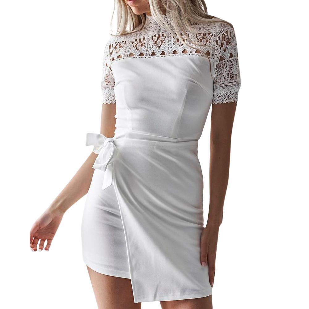 d6d4a3c0d Moda mujer 2018 Vestido de verano de las mujeres Elegantes damas niñas de  encaje de manga corta Bodycon Cocktail Party Lápiz Vestido Vendaje