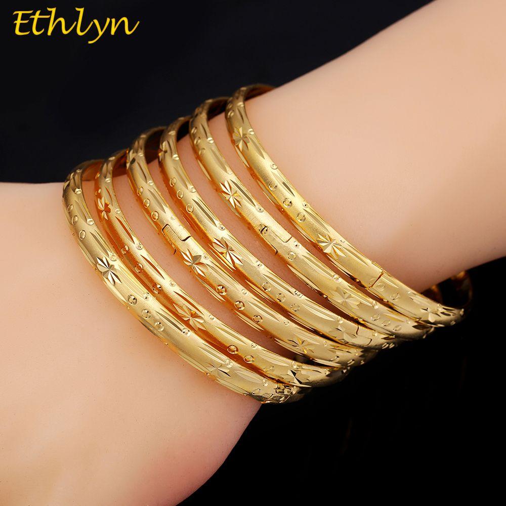 Africain B033 Bracelets Ethiopien 6pcs Bijoux Or En Femmes Lot Bracelet Dubai Ethlyn Gros Couleur Décoration Party Nmnwv80