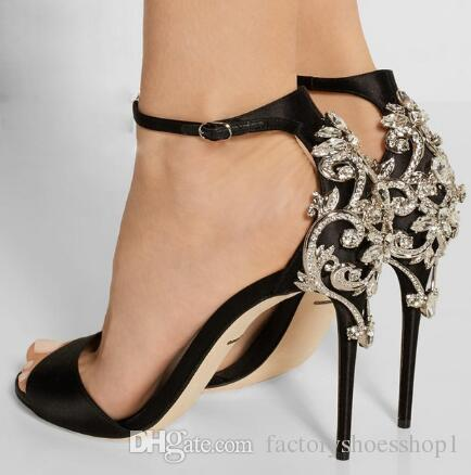 2018 New Style Black Sexy Women Summer Back Crystal Decoration Sandals Thin and High Heel Party Lady Dress Shoes