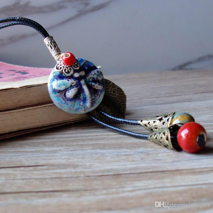 Ceramic Necklace Handmade Retro Folk Fringe Carving Kiln Long Sweater Chain Rope Bead Clothi Pendant Fashion High Grade Women Jewelry