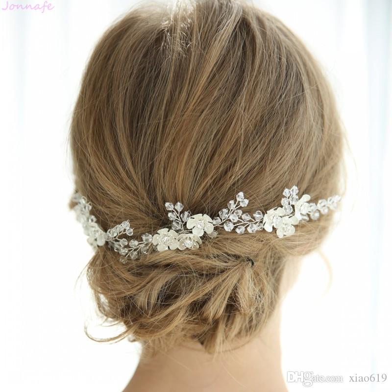2cdabb916dae Ручной проводной мода белый цветочный свадебный волосы контактный клип  Кристалл ...