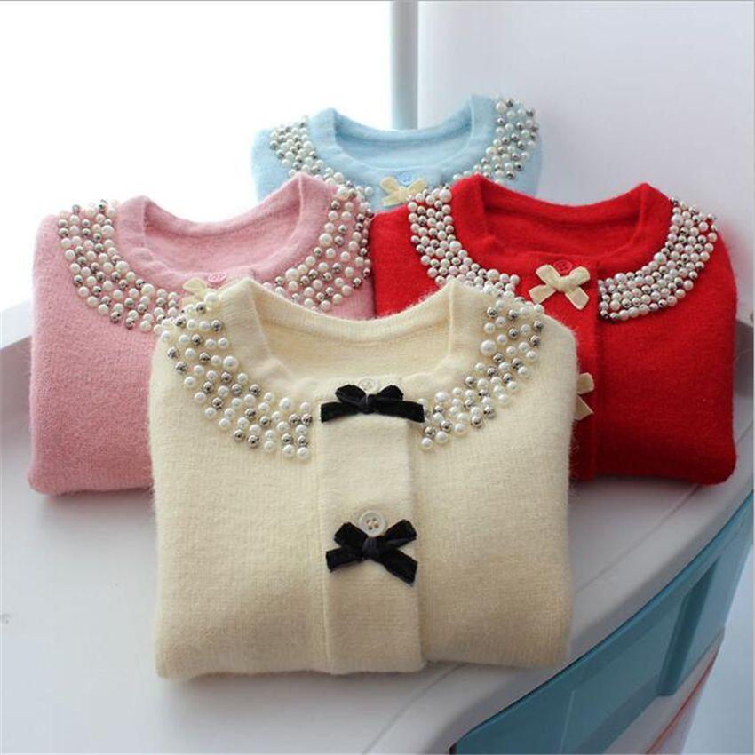 c4431d4e9 Autumn Girls Bow Pearls Sweater Coat Winter Cardigan Woolen Children ...
