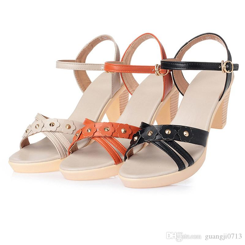 6a6b3ecf2 2018 Summer New Style Buckle High Heel Women S Sandals Thick With  Breathable Open Toe Women S Shoes Waterproof Platform Platform Shoes White  Wedges Cheap ...