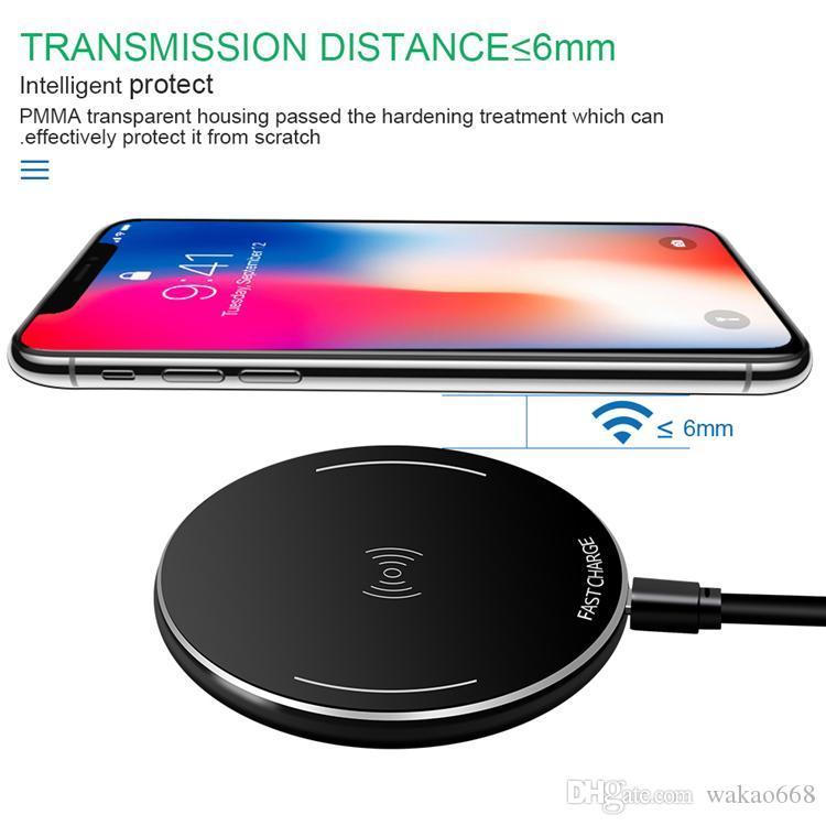 Almohadilla de carga inalámbrica Qi para Samsung Galaxy S8 plus Note 9 Cargador inalámbrico rápido para Iphone X 8 Plus y todos los dispositivos compatibles con Qi