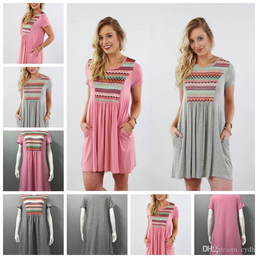 ee4a971b0c5e1 Satın Al 2018 Moda Eğlence Renk Yuvarlak Boyun Katlama Çift Cep Baskı Kısa  Kollu Elbise Desteği Karışık Toplu, $16.5 | DHgate.Com'da