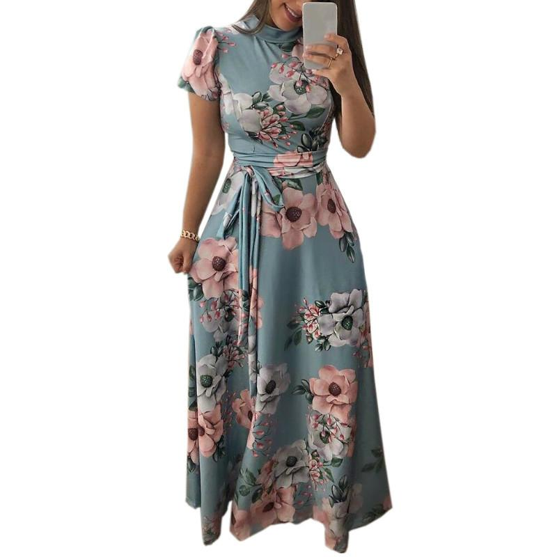 4dca193f67 Autumn Women Floral Printed Short Sleeve Maxi Long Dress Summer Plus Size  Femme Dress Boho Style Party Vintage Dresses GV876 Long Dresses Sexy Dresses  From ...