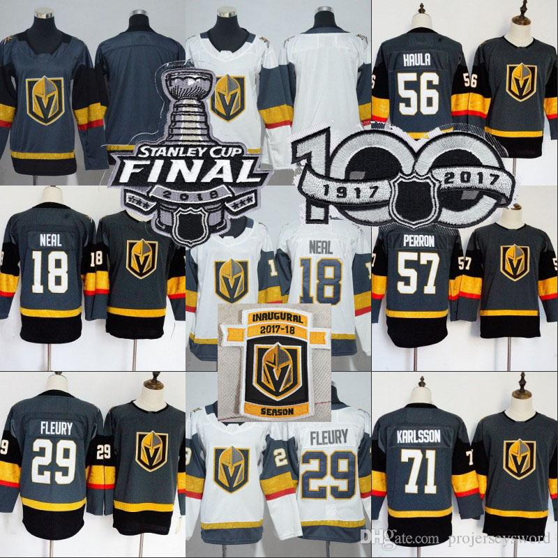2019 Youth Golden Knights Jersey 2018 Stanley Cup Final Patch 29 Marc Andre  Fleury 18 James Neal 56 Erik Haula 57 David Perron Hockey Jerseys From ... 2e95ee4333e