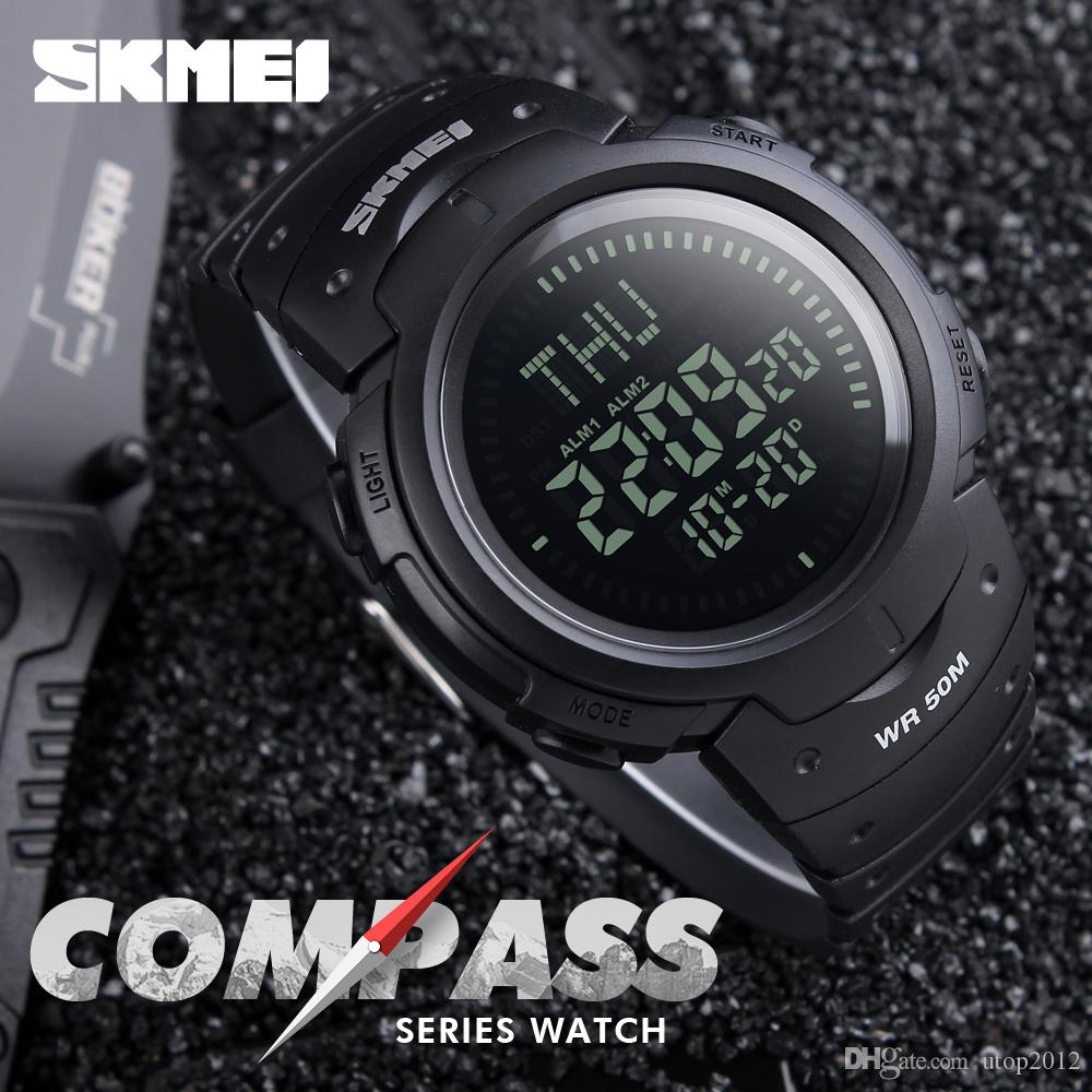 Men's Watches Lovely Skmei Chronograph Men Stopwatch Sports Compass Watches Hiking Men Watch Digital Led Electronic Silicone Watch Man Sports Watches