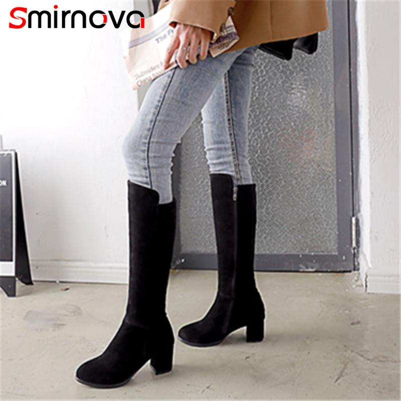 64afe40b530 Smirnova TOP FASHION big size shoes zipper 2018 flock long boots ladies  winter keep warm knee high boots woman high heel
