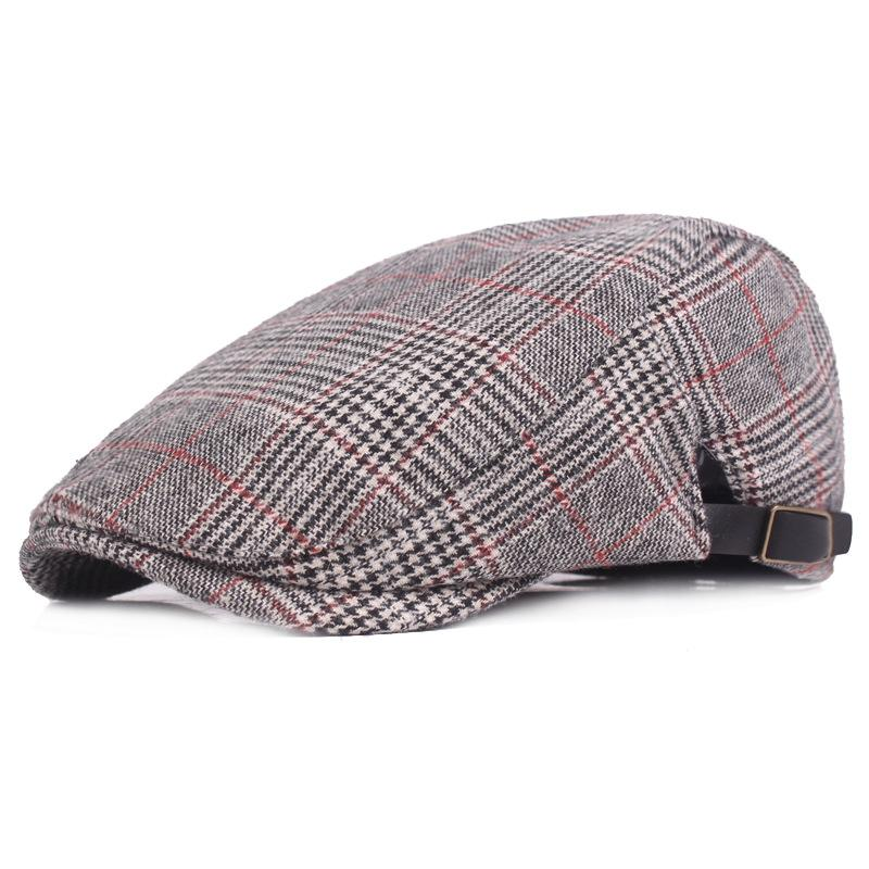 8e027ad03253e Fashion Houndstooth Flat Berets Caps for Men Women Print Plaid ...