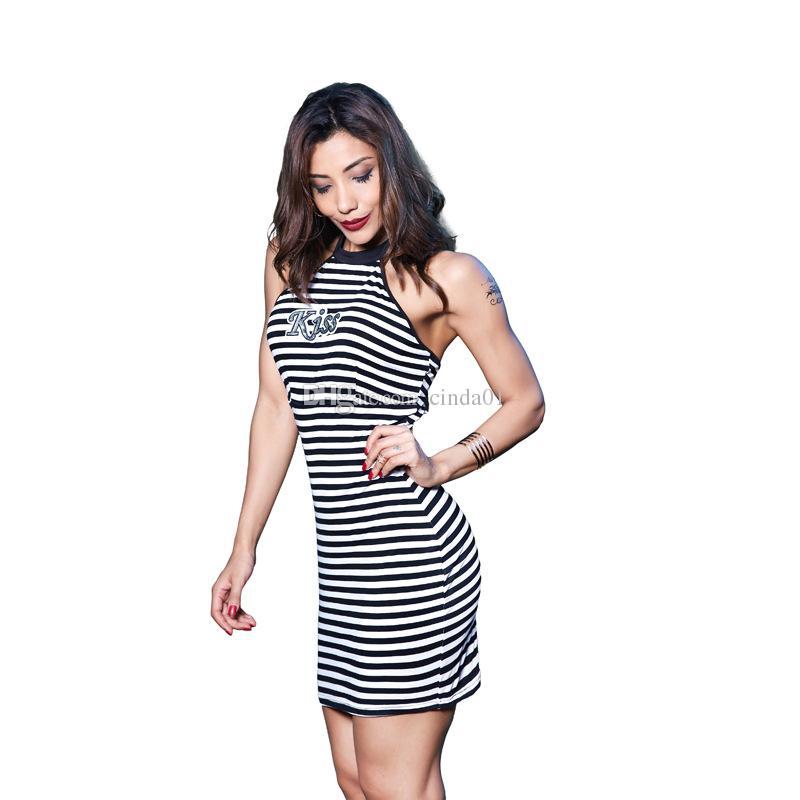 Vestidos casuales Vestido de verano Impreso Vestido Sexy Night Club Atrapado Cuello Halter Cuello Mini Funda para Mujer