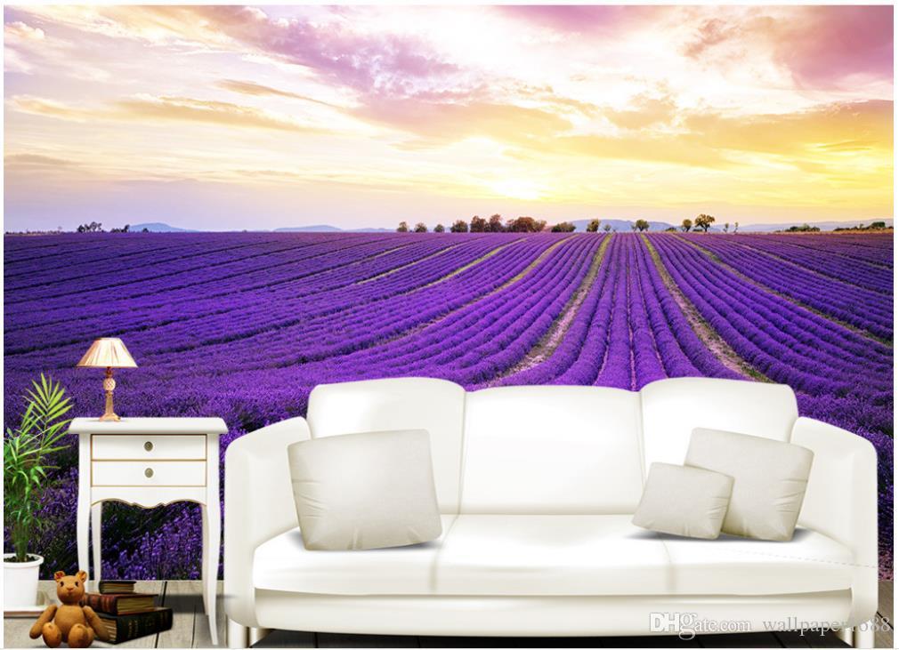 Bella Viola Lavanda Campo Di Fiori Tv Sfondo Muro Dipinto Per Pareti 3 D Per Soggiorno