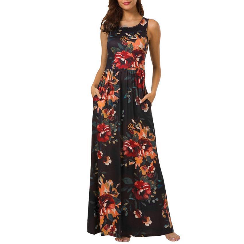 39f78b835 Compre Vestido Largo De Verano Vestidos Elegantes Para Mujer Moda 2018  Estampado Hasta Los Tobillos Ropa Casual Robe Dete A  32.12 Del Qinfeng06