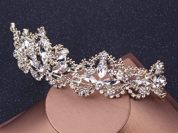 La mariée européenne diadèmes baroque luxe strass cristal couronne 2018 la reine diamant cheveux princesse coréenne blanc brillant accessoires pour cheveux