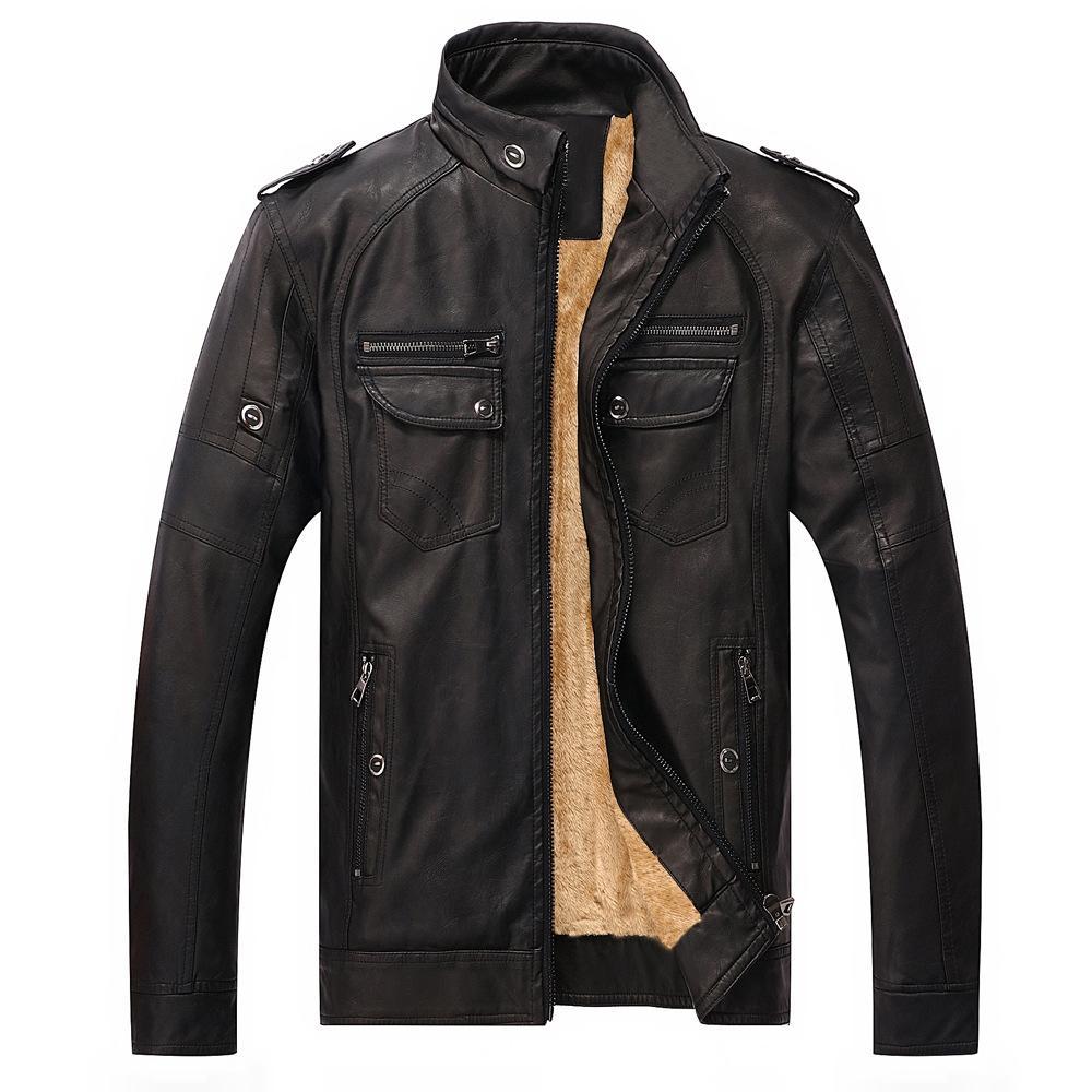 Giacche da uomo Giacche e cappotti 2017 Giacche da uomo Slim Warm mens in pelle lavato motociclista Giacche in piedi cappotto invernale maschile