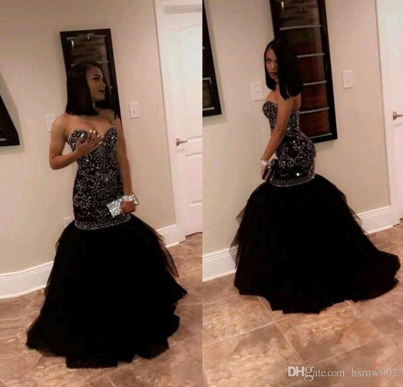 Sparkly Black Mermaid Prom Dresses 2018 Sexy Sweetheart Crystal Beaded Tulle Skirt Formal Prom Wear Dresses Evening Celebrity Gowns