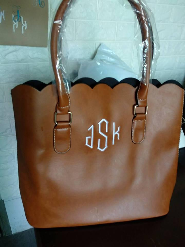 ROYALBLANKS Personalised Wholesale Faux Leather Scalloped Casual Tote Purse Handbag With Two Handles Can Be Embroidery