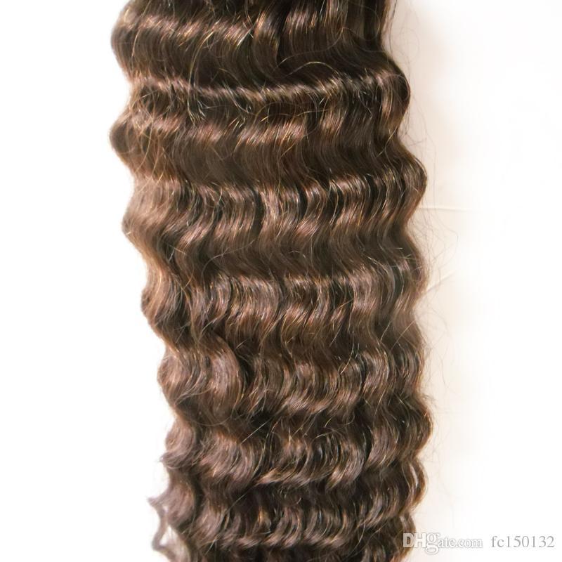 Remy Human Hair Nail I Tip Hair Extensions Kinky curly 100g / strands Предварительно скрепленные волосы на кератиновых капсулах Brown 1g / Strand