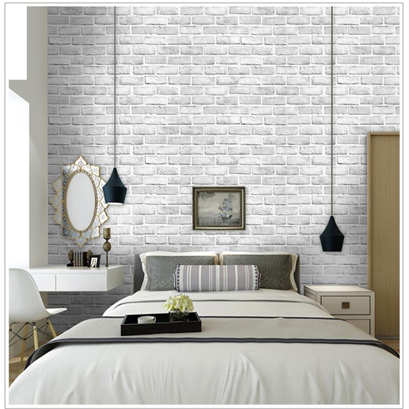 Bedroom White Brick Wallpaper