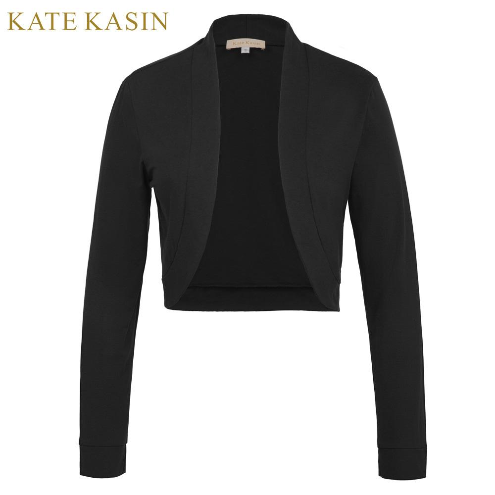 a79f39f4ee Kate Kasin Women S Basic Short Coat Long Sleeve Open Front Cropped Tops  2018 Female Jacket Cotton Bolero Shrug For Casual Wear Summer Jacket Faux  Fur ...