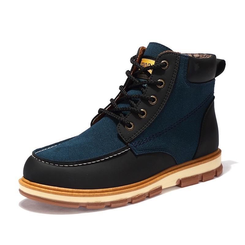 official photos ff71a db894 Echtes Leder Männer Stiefel Herbst Winter Stiefeletten Mode Schuhe Lace Up  Schuhe Männer Hohe Qualität Vintage Männer Schuhe