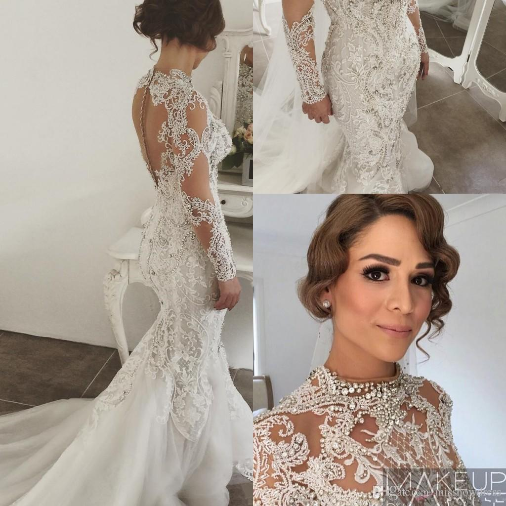 7a1b05783b0 Luxury Arabic Long Sleeves Lace Mermaid Wedding Dresses Beaded Crystals  Sweep Train Wedding Bridal Gowns With Buttons Beach Wedding Gowns Best Wedding  Gowns ...