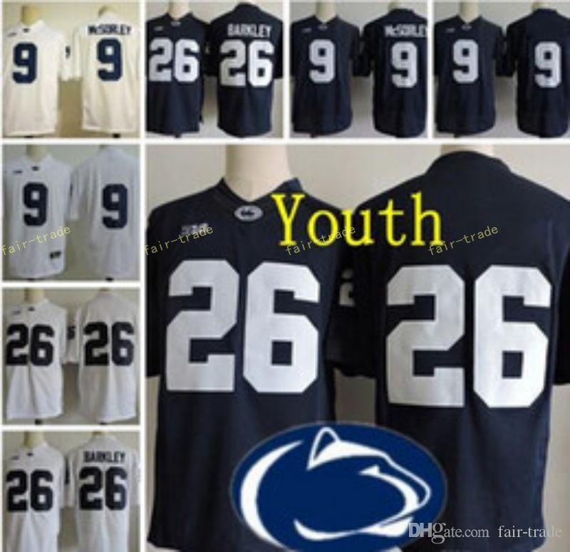 the best attitude e5bac 65aa0 Youth Penn State Nittany Lions #9 Trace McSorley 26 Saquon Barkley Kids Big  Ten Penn State Navy Blue White Stitched College Football Jerseys