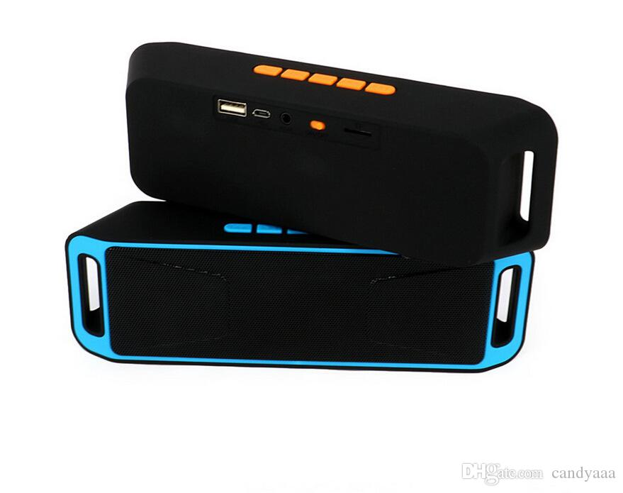 SC208 Mini Altoparlante Bluetooth senza fili Bluetooth 4.0 Altoparlanti subwoofer stereo TF USB Radio microfono incorporato Bass Sound Box DHL