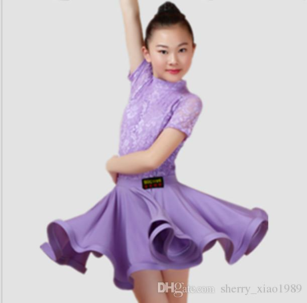 3af4c2c1c 2019 New Children Kids Girls Latin Dance Dress Short Sleeve Lace Chacha  Tango Ballroom Costumes Practice Dance Dress Competition Clothing From ...