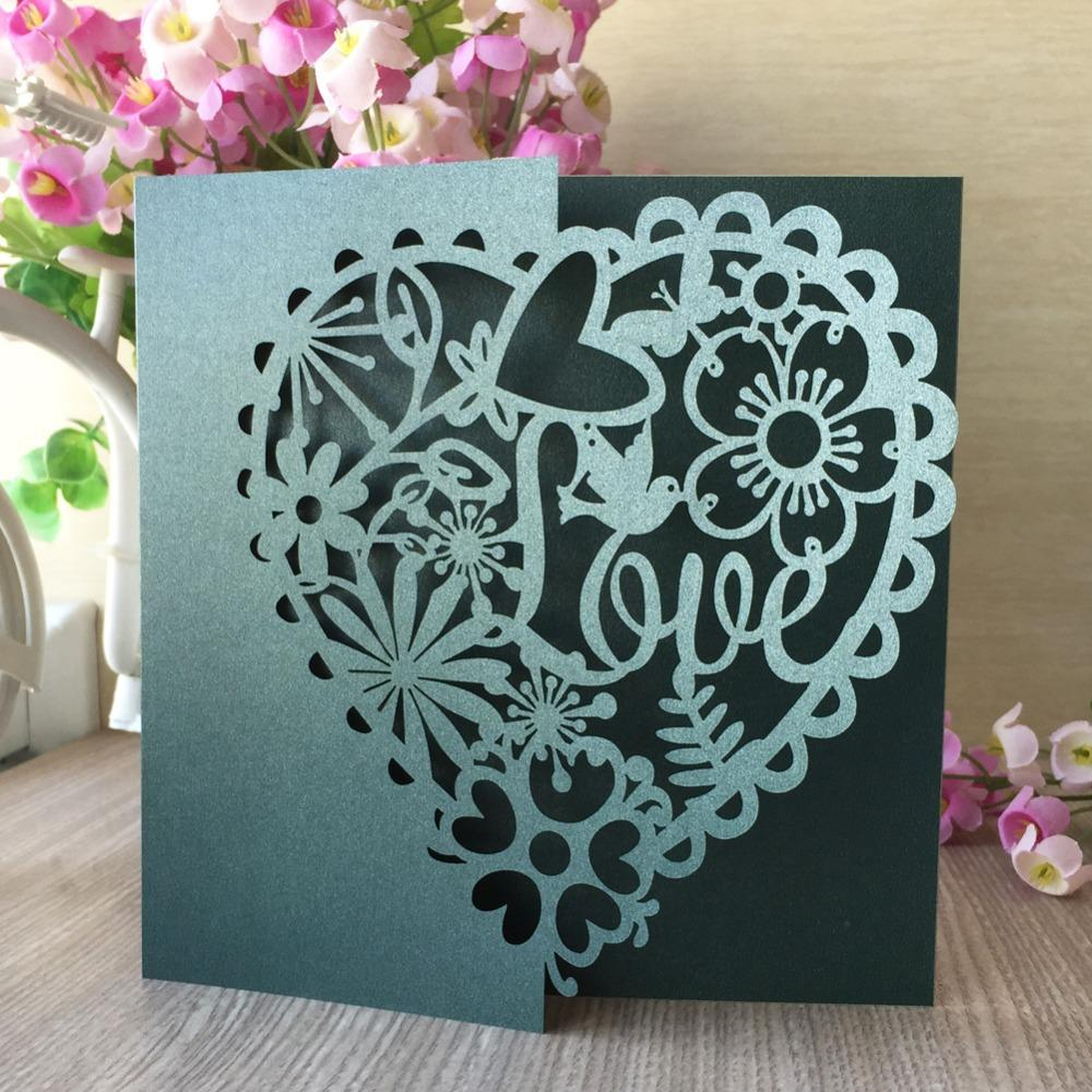New Laser Cut Wedding Invitations Cards Set Heart With Bird Greeting Cards  Business Invitations Cards Party Supplies Couples Wedding Shower Invitations  Diy ... 3d649f6b82f5
