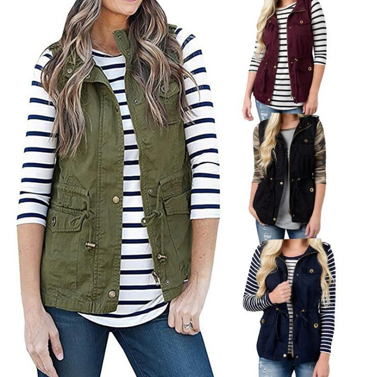 6a526b8142fb57 2019 Waistcoat Vest Women Olive Green Vest With Pockets Military ...