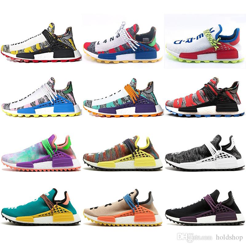 a060e4ee27127 2019 2019 Human Race Hu Trail X Pharrell Williams Men Running Shoes Solar  Pack Afro Holi Blank Canvas Womens Designer Shoes Trainer Sport Sneaker  From ...