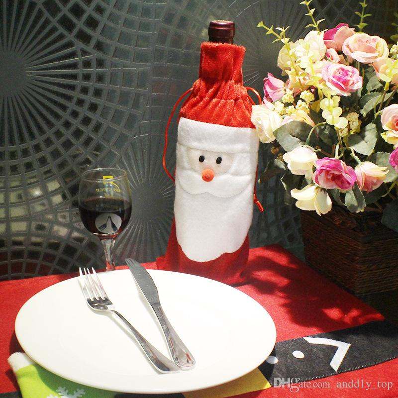 Christmas Red Wine bottle Bags Santa Claus Wine champagne Cover Gifts Bag Christmas Ornaments New Xmas Dinner Party Table Decor