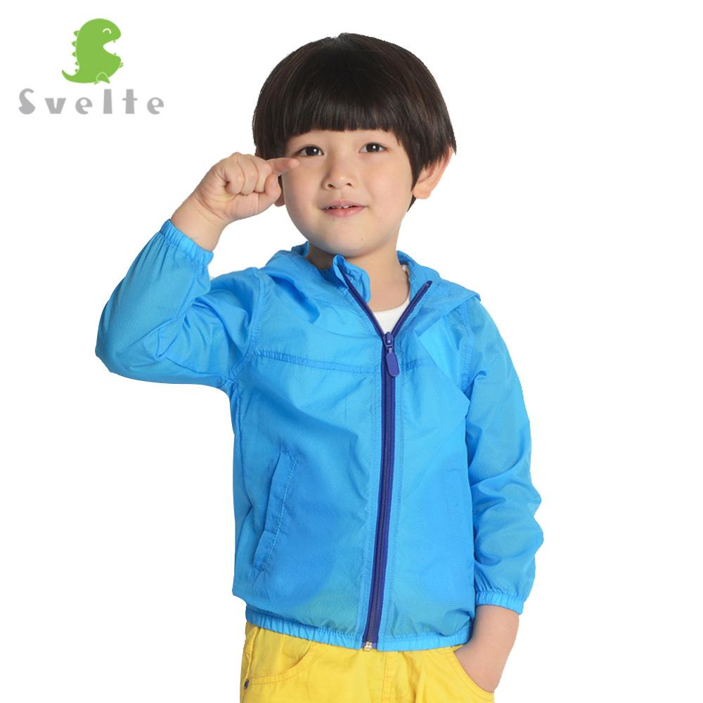 SVELTE Spring Fall Children Kids Boys Girls Candy Color Nylon Lightweight Waterproof Hoody Jacket Sunproof Zipper Skin Coat