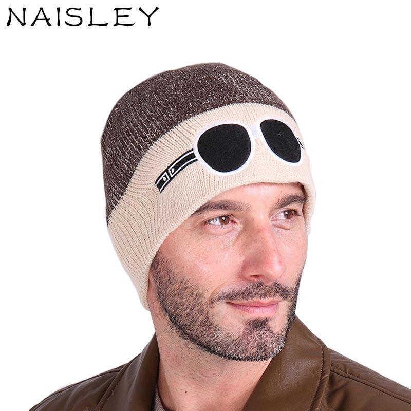 2019 NAISLEY Fashion Handsome Warm Cap Two Tone Glasses Pattern Knitted Hat  Beanies Hats For Men Women Hat Hiphop Balaclava Gorro Cap From Duriang b5aa49cf334