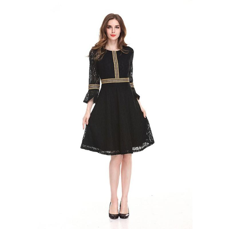 778d80fdeed Lace Dress Design Elegant 3 4 Lotus Leaf Sleeve Casual Pleated Dresses  Vintage Black Red Party Ball Gown Dresses For White Party Short Dress Women  From ...