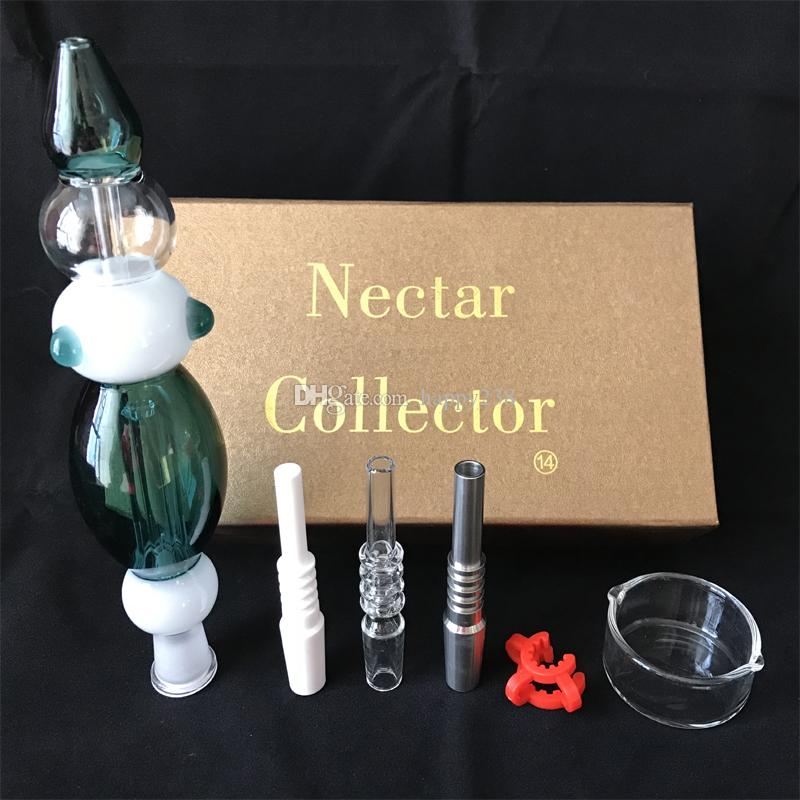 Nectar Collector 3.0 Kits With Domeless Quartz Nail 14mm Nectar Collector kit Glass Water pipes With 3 types nail for choose